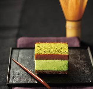 Japanese sweet of Matcha Castella in Kyoto