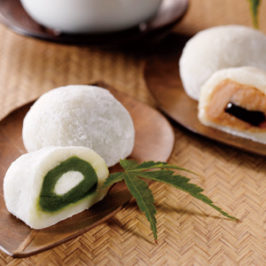 Wagashi of Matcha and Kyoto Ground Soybean Flour